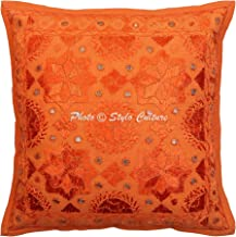 Stylo Culture Cotton Ethnic Sofa Cushion Cover Orange 40cm x 40cm Mirrored Couch Scatter Cushion Embroidered Home Decorati...