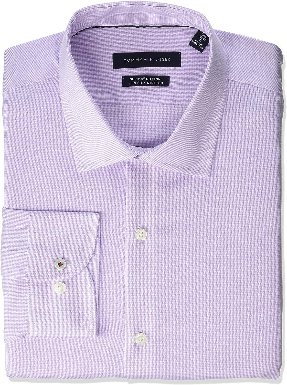 Tulsa Mall Tommy Hilfiger Men's Dress Shirt Check Fit Classic Slim Stretch