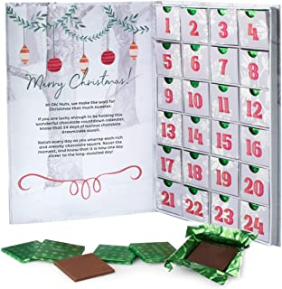 Oh! Nuts Milk Chocolate Advent Calendar 2019 – Fun Christmas Countdown – Thanksgiving Gifts for Kids, Teens, Girls, Boys & Adults - 24 Assorted Gourmet Holiday Dark Truffles for Daily Indulgence