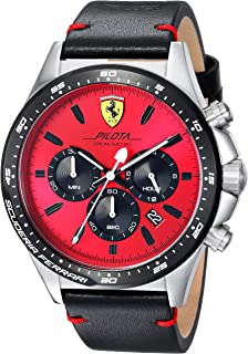 Scuderia Ferrari Men's 'PILOTA' Quartz Stainless Steel and Leather Casual Watch%カンマ% Color:Black (Model: 0830387)