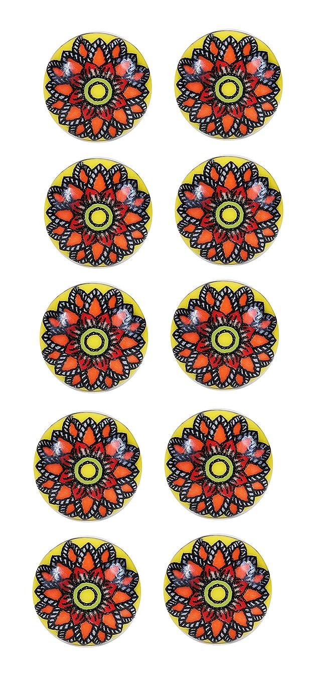Ceramic Cabinet Knobs Cupboard Dresser Door Knobs Drawer Pulls Indian Handicraft Handmade Knobs and Pulls 10 Pcs. (Multicolor1)