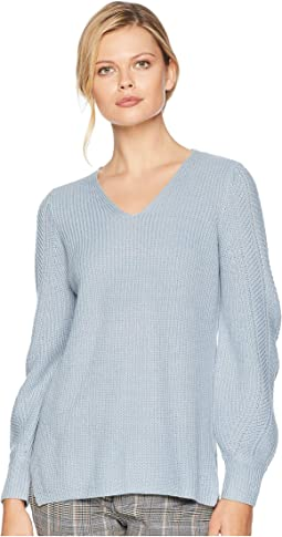 V-Neck with Poetic Stitch Sleeve Sweater