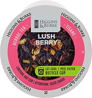 Higgins & Burke Single Serve Tea Capsules, Lush Berry Loose Leaf Tea, 24 Count, Premium Authentic Herbal Tea with Natural Blend