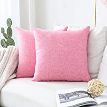 """HOME BRILLIANT Lined Linen Throw Pillow Covers 2 Pack, Fuchsia Pink, 20""""x20"""""""