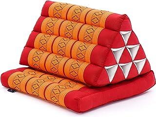 Leewadee colchón Plegable con un segmento – Futón con cojín Hecho a Mano de kapok ecológico, colchoneta tailandesa Ancha, 75 x 50 cm, Naranjo Rojo