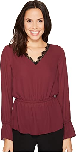 Ivanka Trump - Woven V-Neck Lace Trim Open Back Blouse