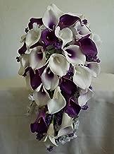 Purple Ivory White Calla Lily Cascading Bridal Wedding Bouquet & Boutonniere