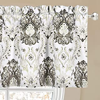 KEQIAOSUOCAI Coffee and Cream Floral Printed Valance for Cafe - Room Darkening Rod Pocket Kitchen Valance 52 by 18 Inch with 1.5 Inch Header(52 W x 18 L Inch,1 Panel)