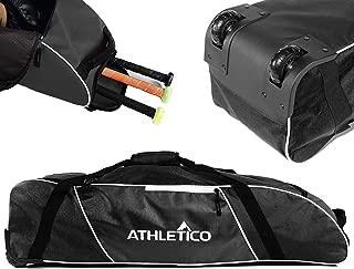 Athletico Rolling Baseball Bag - Wheeled Baseball Bat Bag for Baseball, TBall, Softball Equipment for Youth, Kids, and Adults