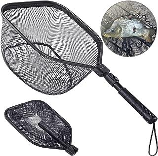 PLUSINNO Fly Fishing Net, Bass Trout Landing Net, Folding Fishing Nets Fresh Water, Safe Fish Catching or Releasing