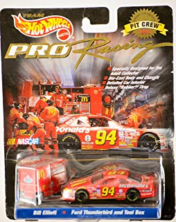 1997 - Mattel / NASCAR - Team Hot Wheels - Pro Racing - Pit Crew 1998 Collector Edition - Bill Elliott #94 - McDonald's / Ford Thunderbird & Pit Tool Box - 1:64 Scale Die Cast - MOC - Out of Production - Limited Edition - Collectible