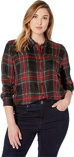 Plus Size Crest Tartan Twill Shirt
