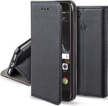 Moozy Funda para Huawei P8 Lite 2017, Negra - Flip Cover Smart Magnética con Stand Plegable y Soporte de Silicona