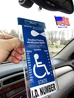 MirorTag Silver by JL Safety- A Novel Way to Protect, Display & Put Away a Handicapped Parking Placard. Slip in your handicap tag into this thick holder that unlike others, this one comes with a detachable strong hook that will never melt or bend or break in the sun. Holder will MAGNETICALLY snap On & Off to a Hook you mount behind your rearview mirror once. Full protection, and ON and OFF in a snap. Tag size accepted is 4.125