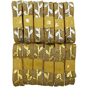 Burlap Ribbon   Jute Crafting Ribbon with Gold and Silver Leaves   6 Silver Rolls - 6 Gold Rolls   13 Yards