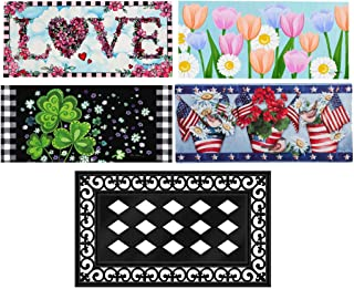 Evergreen Flag Seasonal Sassafras Interchangeable Mat and Tray Set of 5 Welcome Door Mat Inserts for Spring Valentines Day...