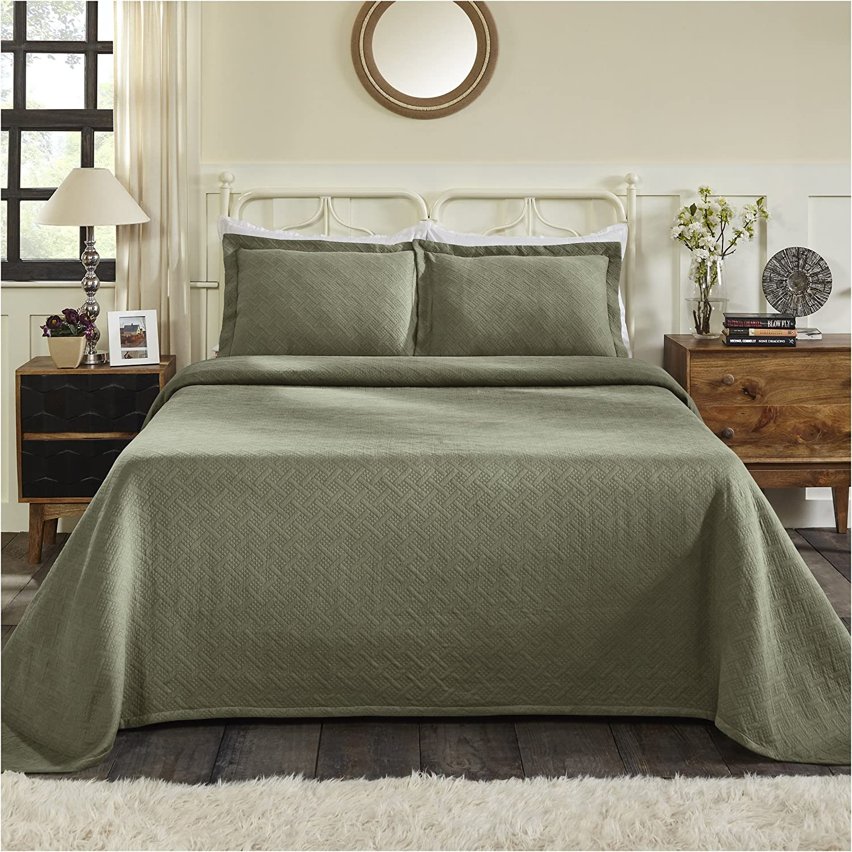 Superior 100% Cotton Basket Weave Bedspread with Sham, All-Season Premium Cotton Matelassé Jacquard Bedding, Quilted-look Geometric Basket Pattern - Twin, Sage