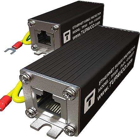 Ethernet Surge Protector (2 Pack) PoE+ Gigabit - Gas Discharge Tube for Full Protection -Mounting Flange- RJ45 Lightning Suppressor- LAN Network CAT5/CAT6 Thunder Arrestor GbE 1000 Mbps- Tupavco TP302