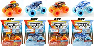 Monster Jam Bundle of 4 Fire and Ice Series Exclusive Special Edition Trucks: Grave Digger Ice, Earth Shaker Ice, Son-Uva Digger Fire, and Mohawk Warrior Fire