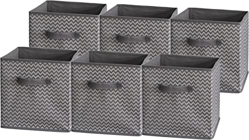 Sodynee Foldable Cloth Storage Cube Basket Bins Organizer Containers Drawers, 6 Pack, Grey Zig Zag Strip