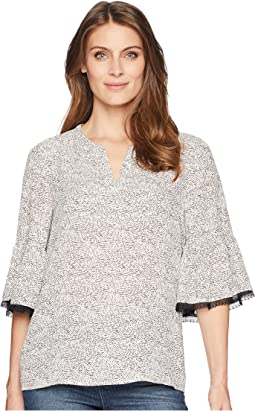 Flared Sleeve Printed Blouse with Open Hem