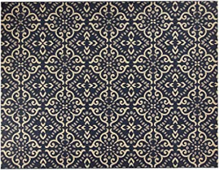 Gertmenian 21571 Coastal Tropical Carpet Outdoor Patio Rug, 8x10 Large, Navy Floral Medallion