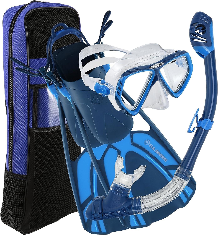 U.S. Divers Adult Regal LX Mask Tucson Snorkel Starboard Fins Travel Bag