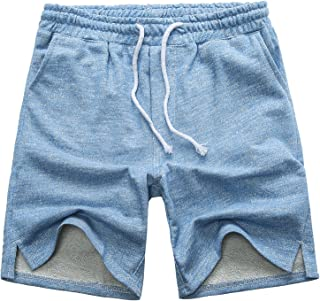 Men's Casual Classic Fit Cotton Elastic Jogger Gym Drawstring Knit Shorts