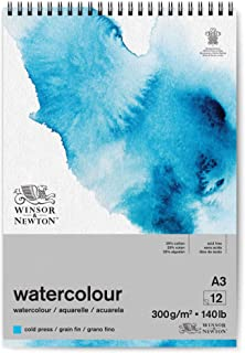 Winsor and Newton Watercolour Paper Pad, A3, 12 Sheets, 300 g/m², Spiral Bound, Cold Pressed, Acid Free, Mixture of 25 Per...