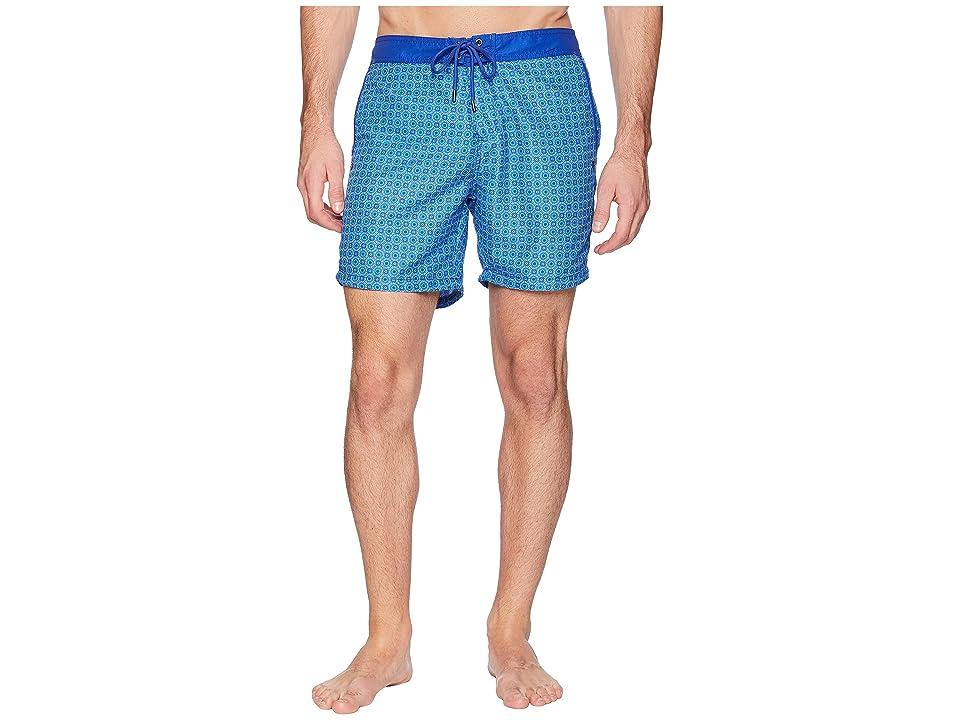 Mr. Swim Circles Fixed Waist Printed Modern Boardshorts (Blue) Men