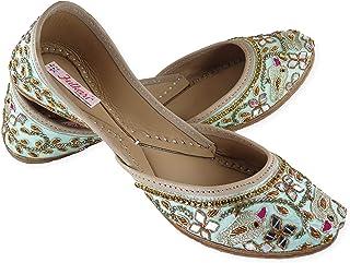 Fulkari Women's Spring Gold Soft Leather Jutis  Bite and Pinch Free Jutis   Phulkari Punjabi Jutti for Ladies   Wedding Fl...