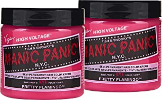 Manic Panic Pretty Flamingo Pink Hair Color Cream (2-Pack) Classic High Voltage Semi-Permanent Hair Dye. Vivid, Pink Shade For Dark, Light Hair. Vegan, PPD & Ammonia-Free Ready-to-Use, No-Mix Coloring