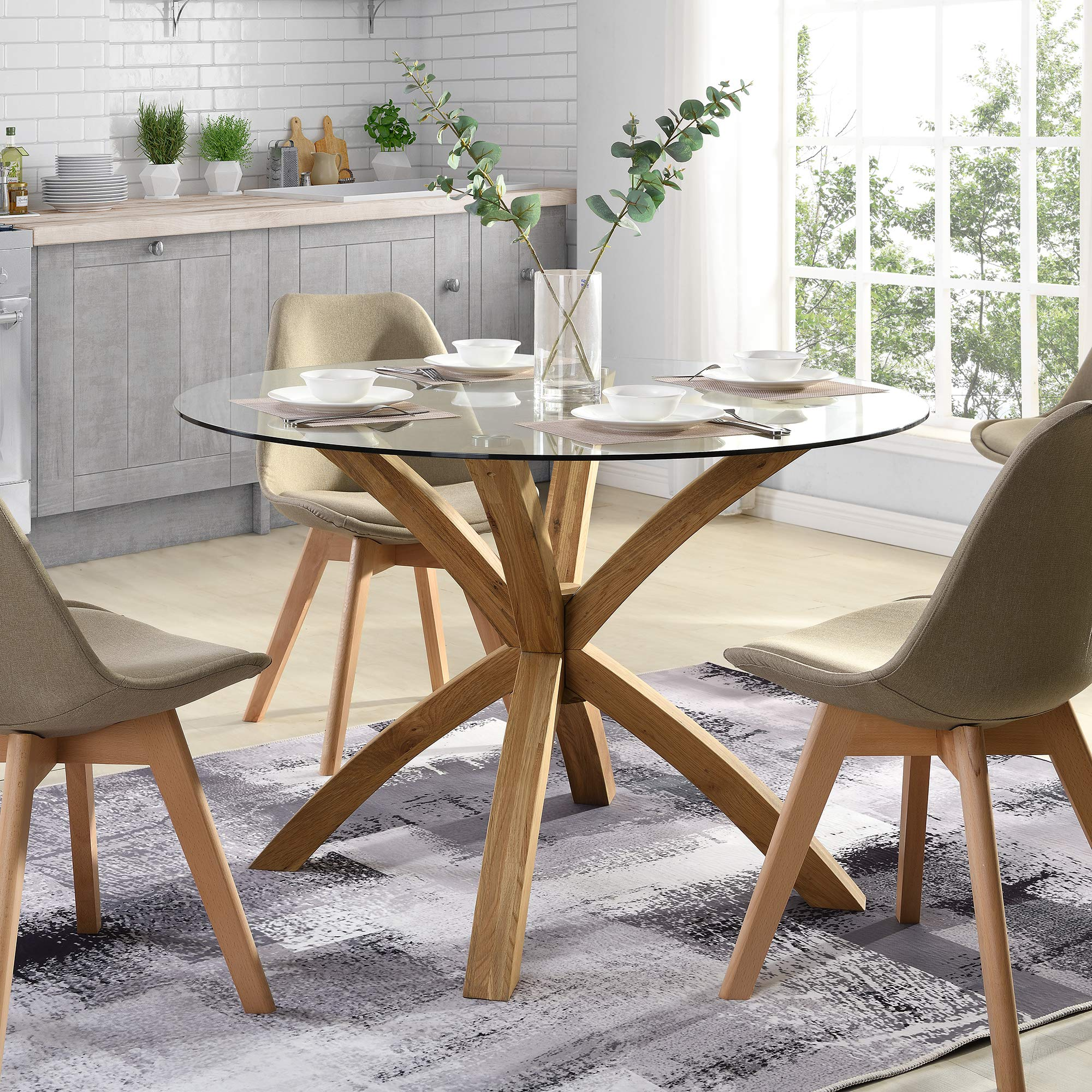 Cherry Tree Furniture Glass Round Dining Table with Solid Oak Legs