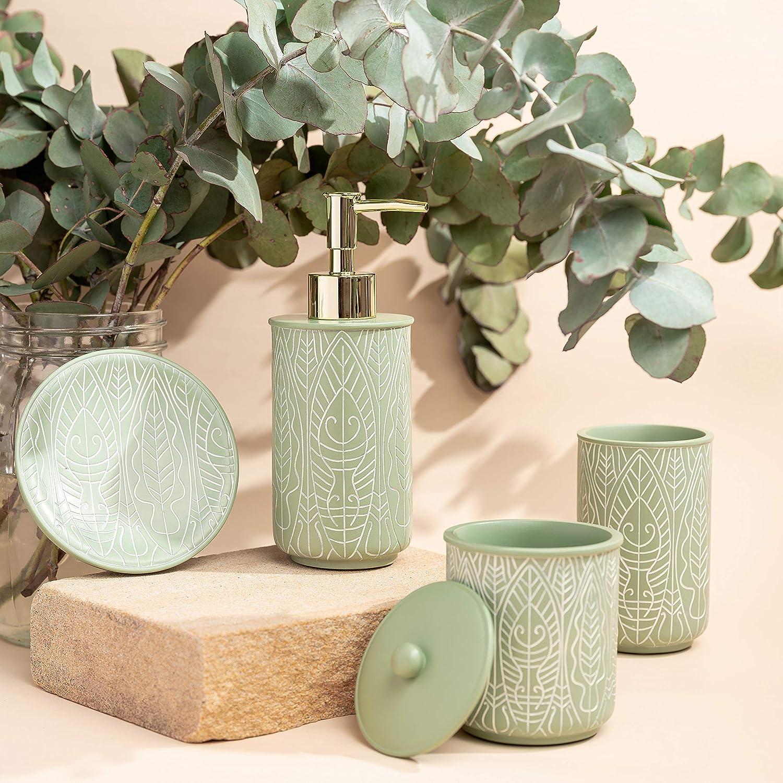 Buy VIRTUNE Premium Pastel Green Bathroom Accessories Set. Green ...