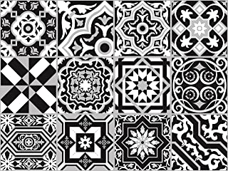 The Nisha 24 PC Pack Art Eclectic Peel and Stick Wall Sticky Backsplash Vinyl Waterproof Removable Tile Sticker Decals for Bathroom & Kitchen, 4x4 Inch, Black & White 1272