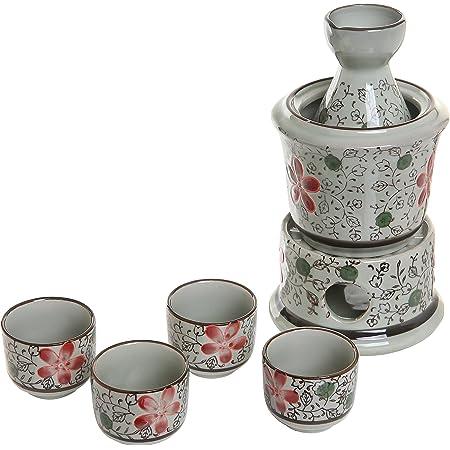 Exquisite Ceramic Red Flowers Japanese Sake Set w/ 4 Shot Glass/Cups, Serving Carafe & Warmer Bowl