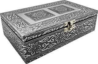 VGI Elegant Jewelry Box with Hammered Metal Cladding and Soft Fabric Interior (Flower, Silver Finish)