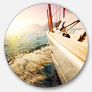 Designart Huge Yacht Sailing Against Sunset Sea Pier Large Metal Wall Art Disc of 23 inch, 23X23-Disc, Blue