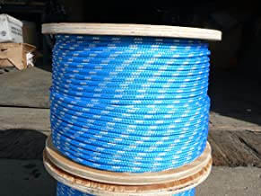 "Sailboat Rigging Rope 1/4"" x 50` Blue/White Double Braided Polyester Dacron Sheet Halyard Line"