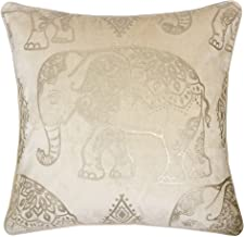 Homey Cozy Foil Applique Ivory Throw Pillow Cover,Gold Series Vintage Elephant Luxury Silk Blush Velvet Sofa Couch Decorative Pillow Case 20x20,Cover Only