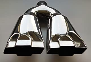 Exhaust Tip 2.250 In Inlet 10.00 Inch Wide 4.75 outlet Dual Bowtie Polished Stainless Steel Mirror Polished WDCB214BOWTIESS Wesdon Exhaust Tip