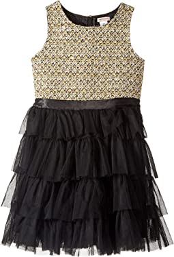 Lurex Tweed Bodice with Layered Tulle Bottom (Little Kids/Big Kids)