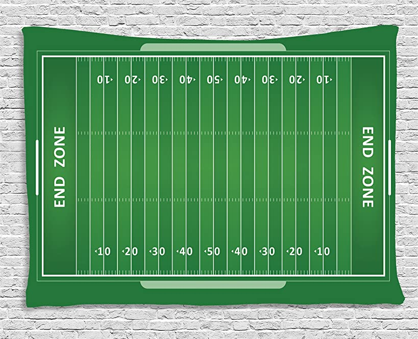 Ambesonne Football Tapestry by, Field of the Game Strategy Tactics End Zone Touchdown Sports Competition Theme, Wall Hanging for Bedroom Living Room Dorm, 80 W X 60 L Inches, Green White