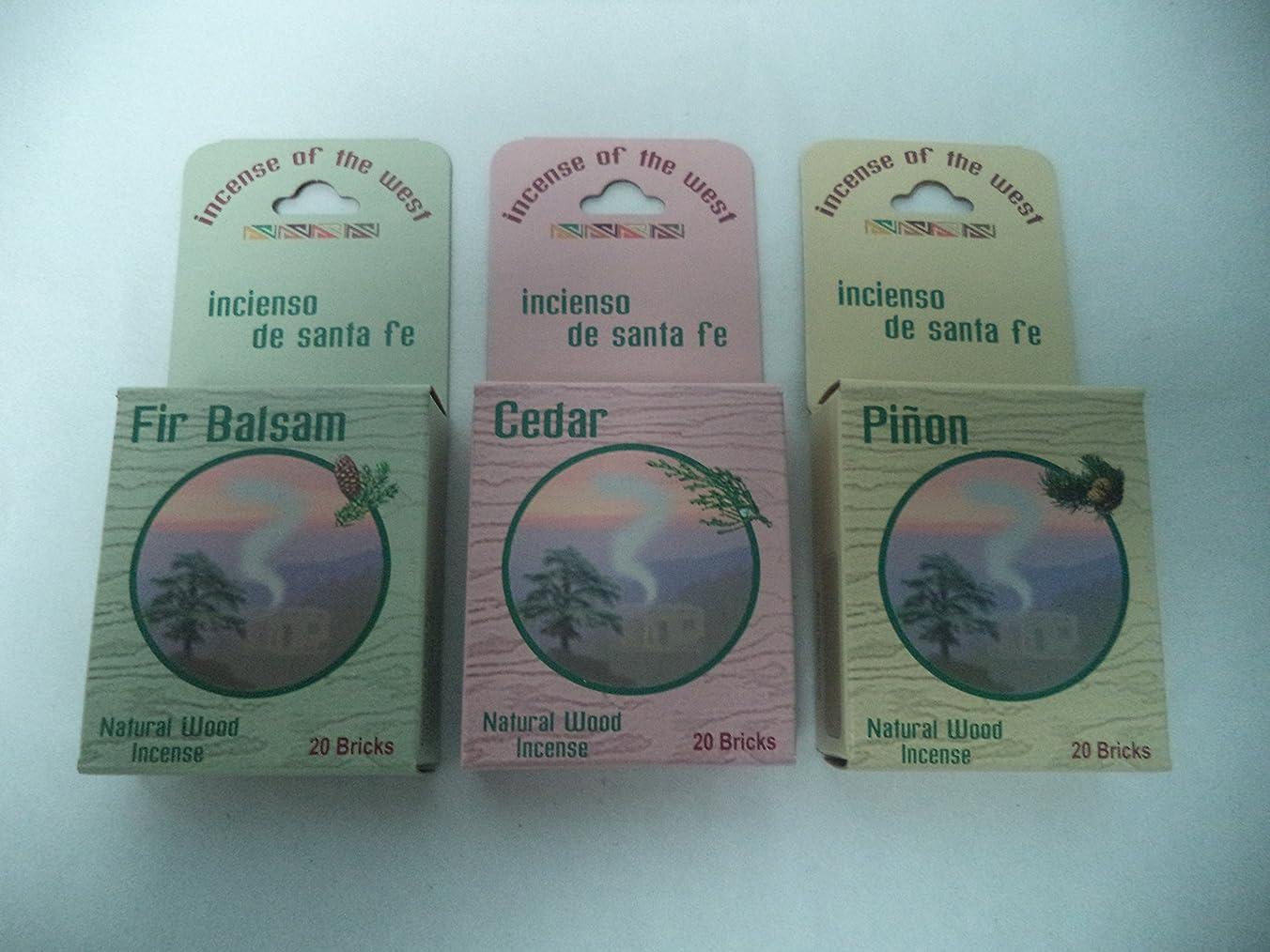 強制的ケーブルもっともらしいBalsam Fir 20 + Cedar 20 + Pinon Pine 20: 60 CHRISTMAS INCENSE CONES / LOGS by Incienso de Sante Fe