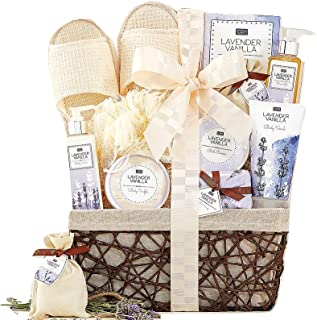 A Day Off Spa Gift Basket For Her Women Men Lavender Vanilla Scented Home Spa Gift Baskets Luxury Bath & Body Gift Set For Wife, Girlfriend, Sister, Mother Lovely Reusable Chic Lined Basket