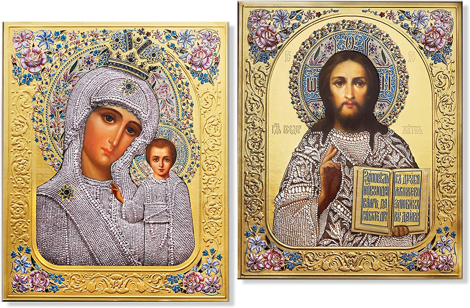 Needzo depot Russian Icon Max 80% OFF Pair Gold Foil Virgin Christ Teacher and The