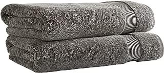 Rivet Classic Supima Cotton Bath Towels, Set of 2, Pewter