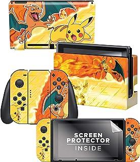 Controller Gear Nintendo Switch Skin & Screen Protector Set - Pokemon - Pikachu Vs Charizard Set 1 - Nintendo Switch