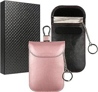 Arae Car Key Signal Blocker Pouch, RFID Blocking Faraday Bag for Keyless Entry Car Key Fob Anti-Thief Car Key Signal Case with Keychain for Credit Card Leather Protector Bags - Black&Rose Gold