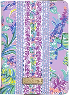 Lilly Pulitzer Purple Women's Leatherette Passport Cover/Holder/Wallet with Card Slots, Mermaid in the Shade